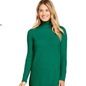 Talbots kelly green cable knit turtleneck sweater